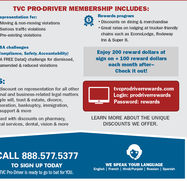 tvc pro driver phone number